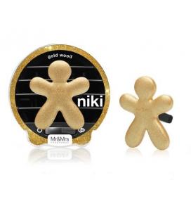 Mr&Mrs Fragrance Ароматизатор для авто Niki GOLD WOOD / Золотое дерево (цвет сверкающий золотой)